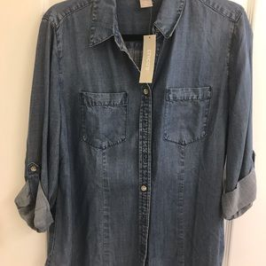 Chico's Denim Roll Sleeve Blouse
